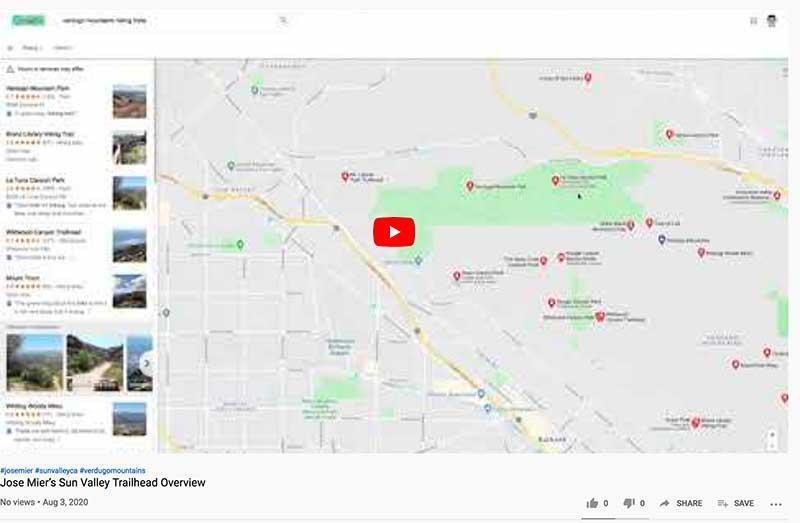 YouTube screenshot Jose Mier Hiking trail map video