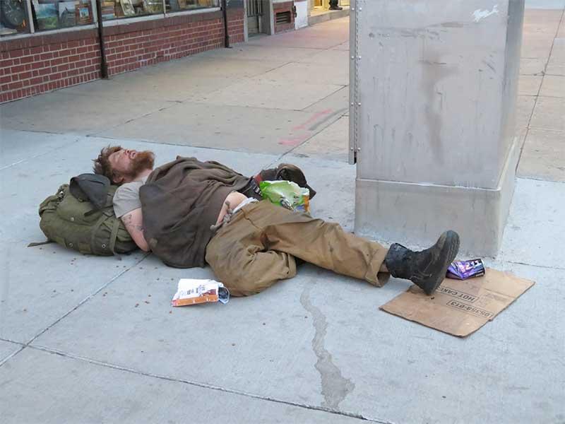 homeless man Sun Valley, CA street