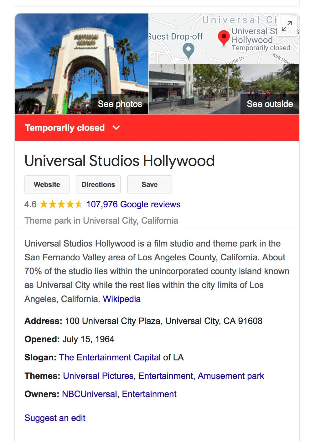 univsersal studios near sun valley closed