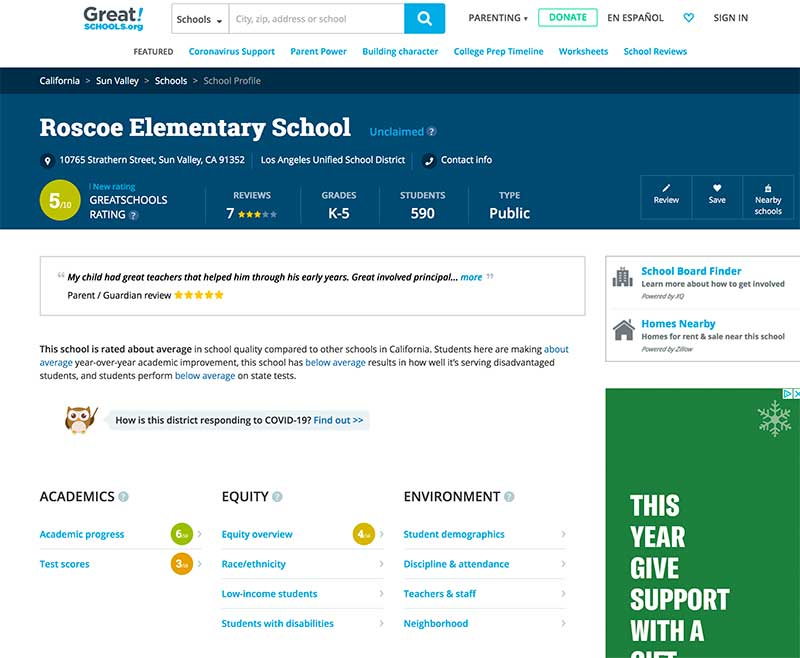 GreatSchools website Roscoe Elementary Sun Valley Jose Mier